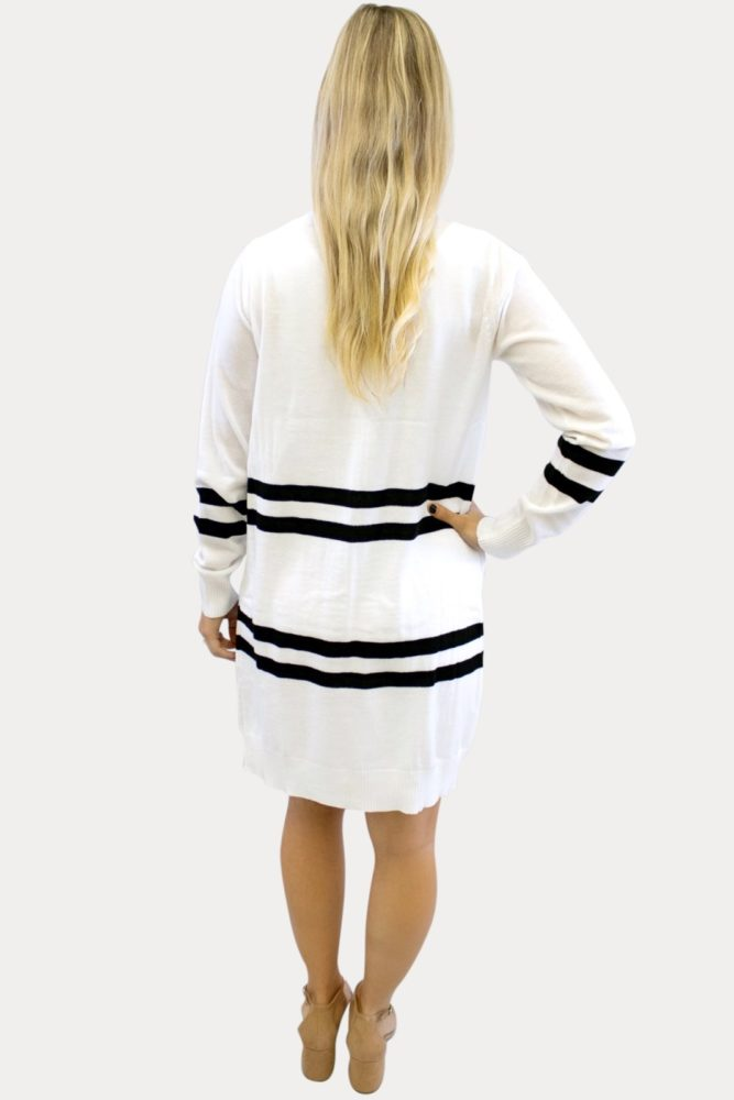 White Striped Maternity Cardigan