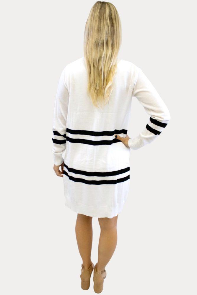 White Striped Maternity Cardigan