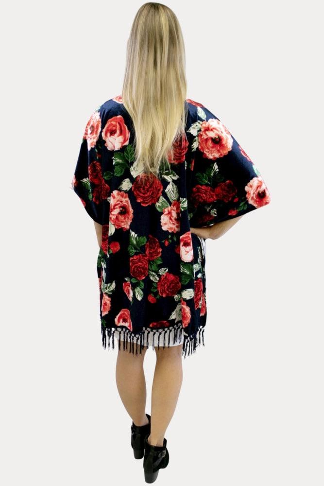 floral velvet kimono