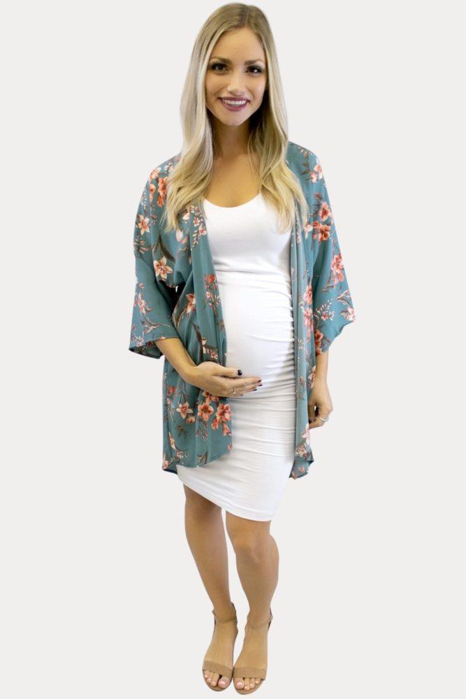 teal floral maternity kimono