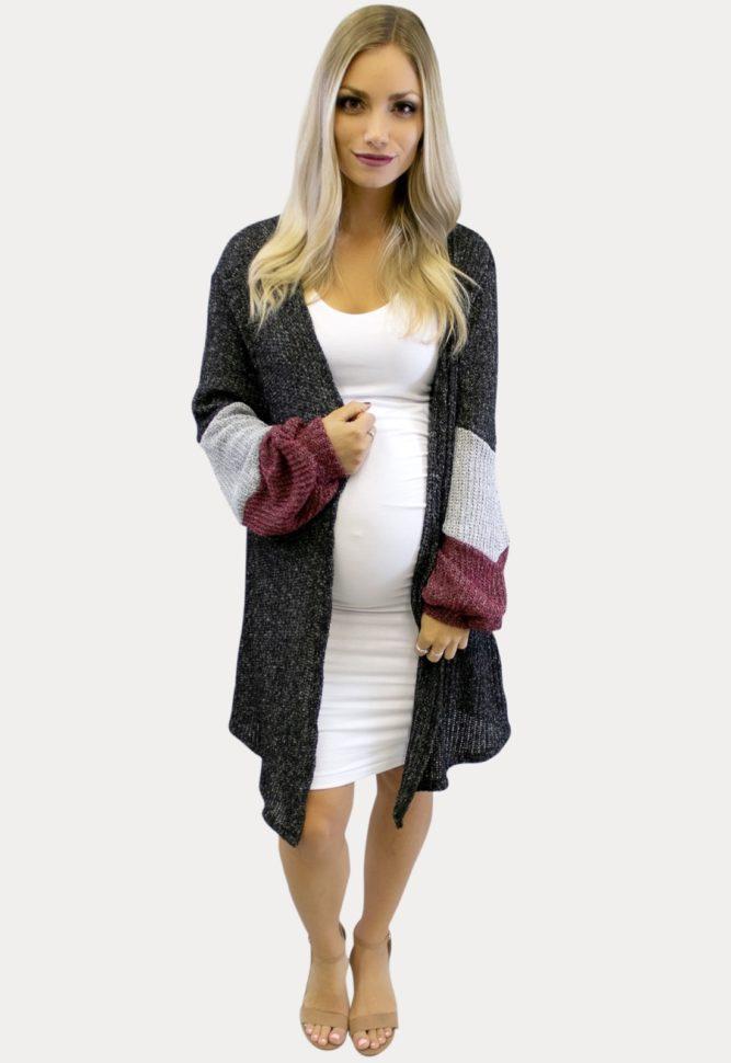 charcoal maternity cardigan