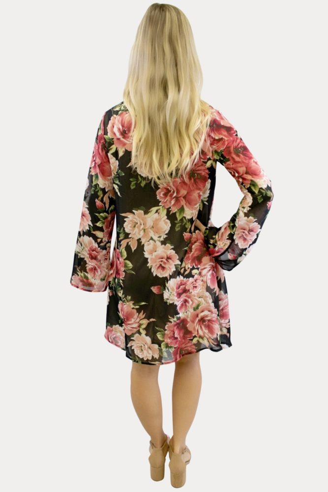Charcoal Floral V-Neck maternity dress