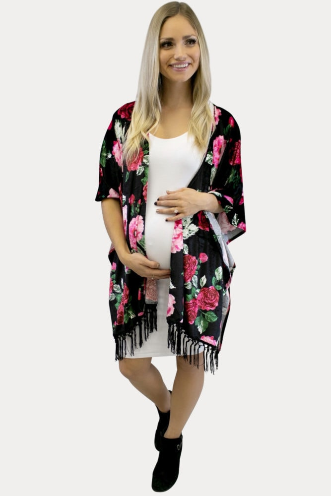 floral velvet maternity kimono