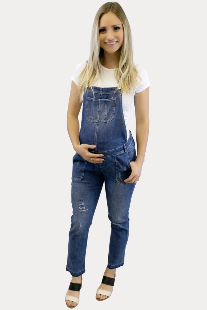 stretch denim Maternity Overalls