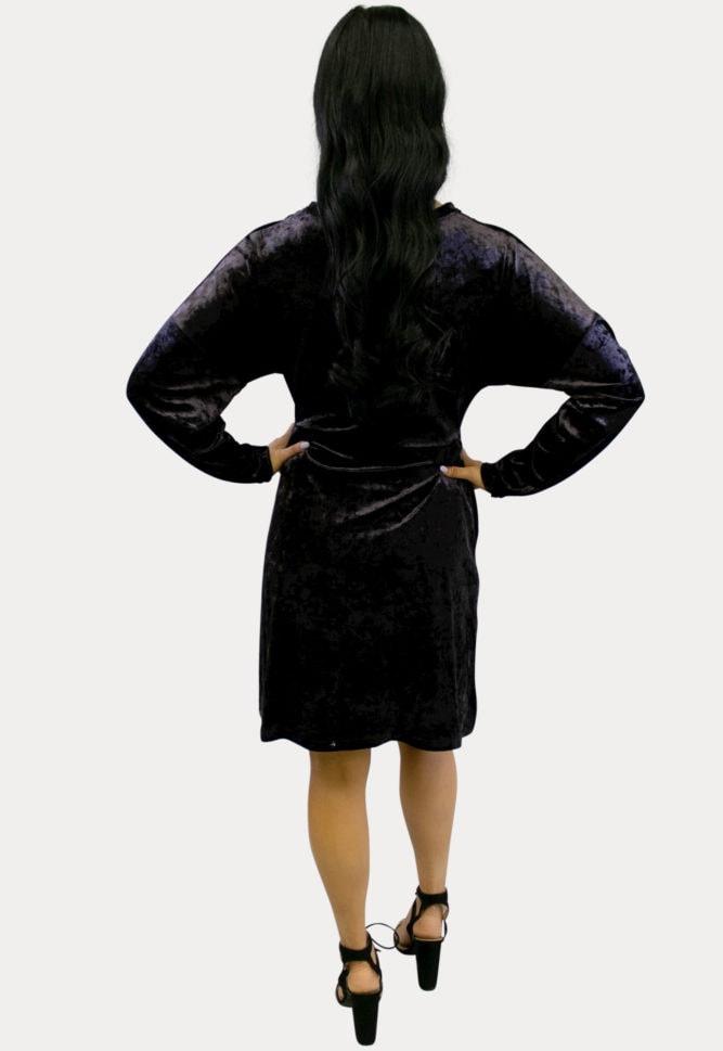 velvet purple maternity dress