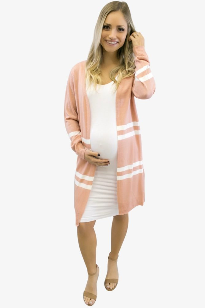 Blush Pink Striped Long-Sleeve Cardigan