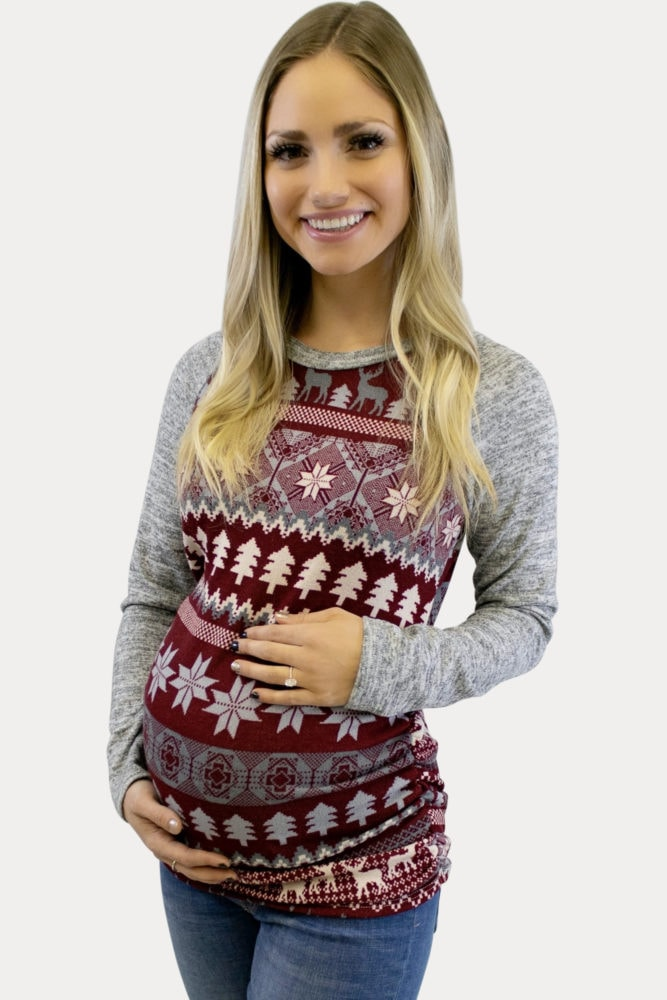 Burgundy Holiday Maternity Tee