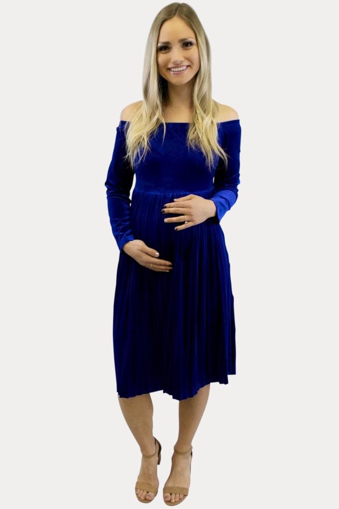 Velvet Pleated Maternity Dress