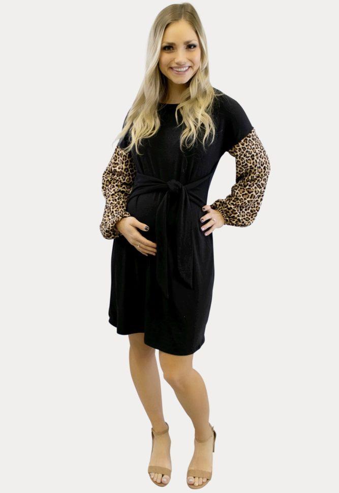 long sleeve leopard maternity dress