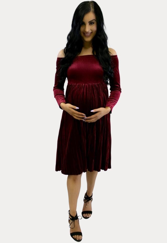 Pleated Velvet Maternity Dress