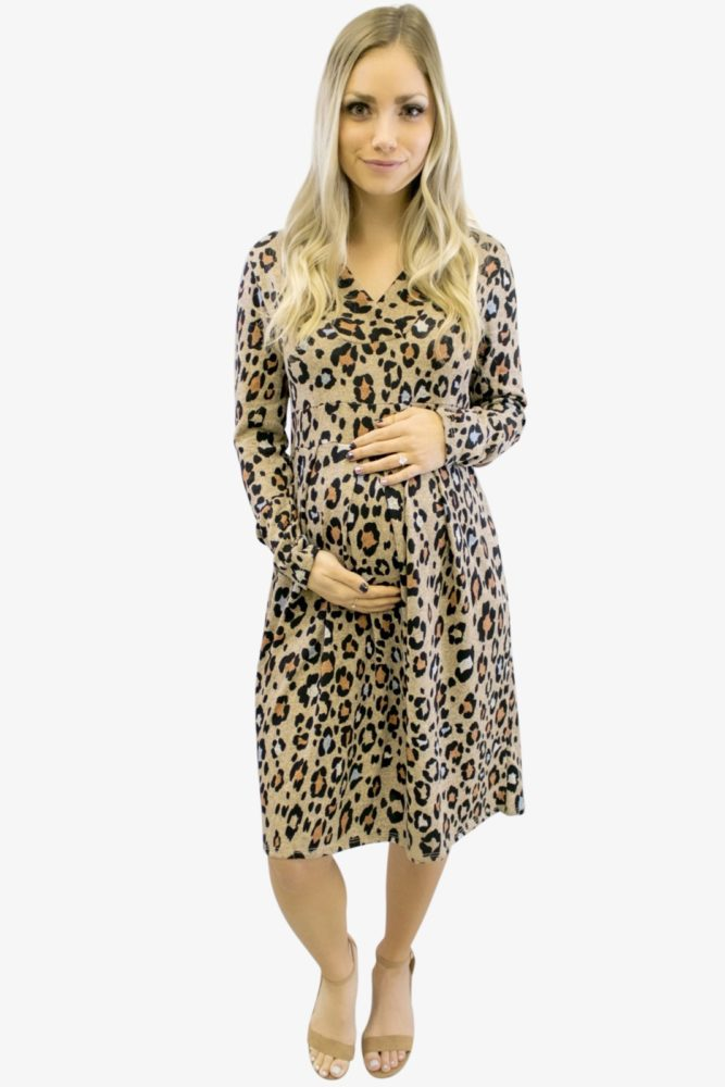 Leopard V-Neck with Long Sleeves