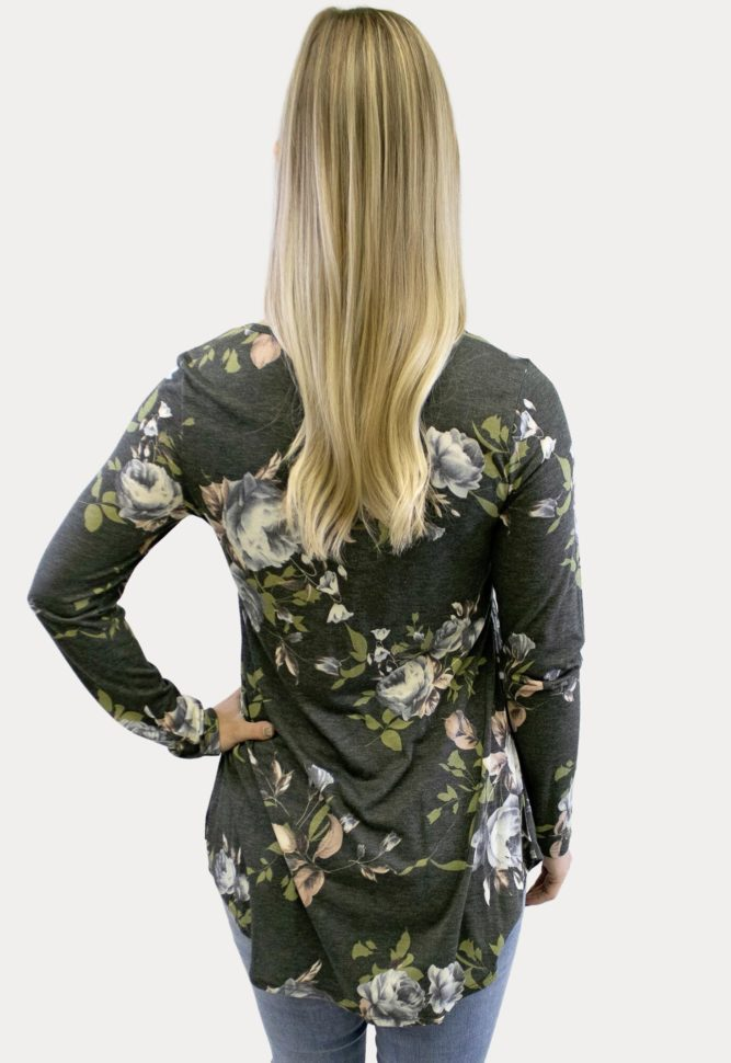 floral button maternity top