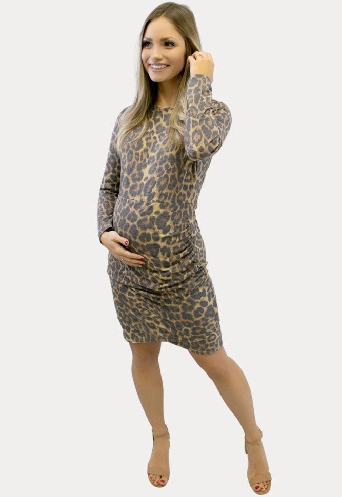 leopard midi maternity dress