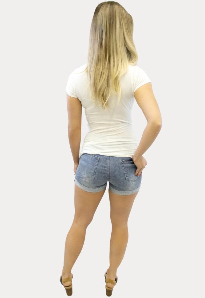 Light Wash Maternity Shorts