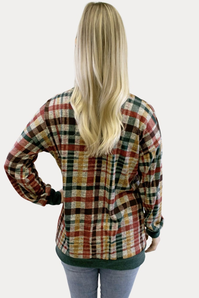 plaid lightweight maternity sweater