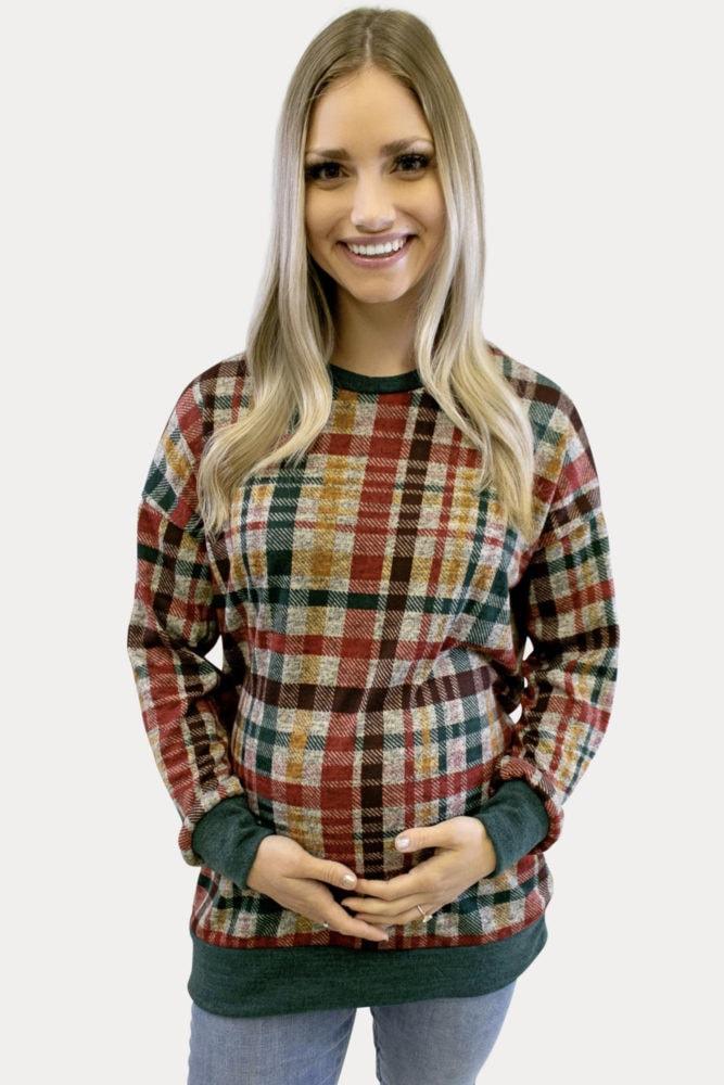 plaid lightweight maternity sweater