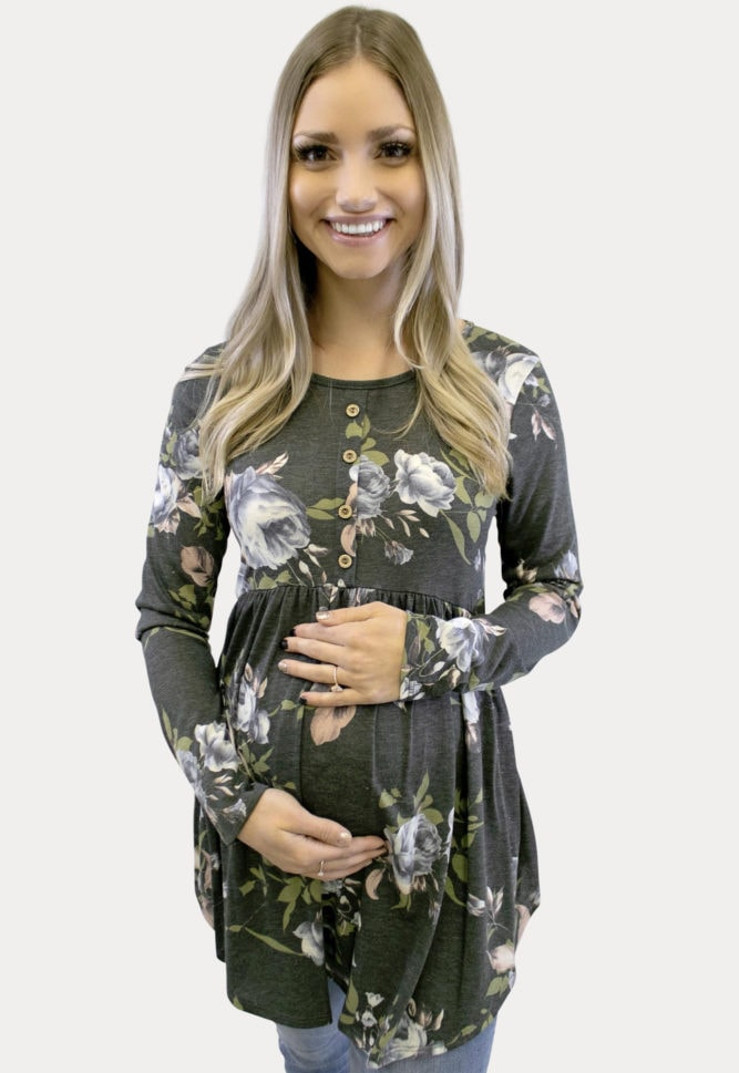 charcoal floral maternity top