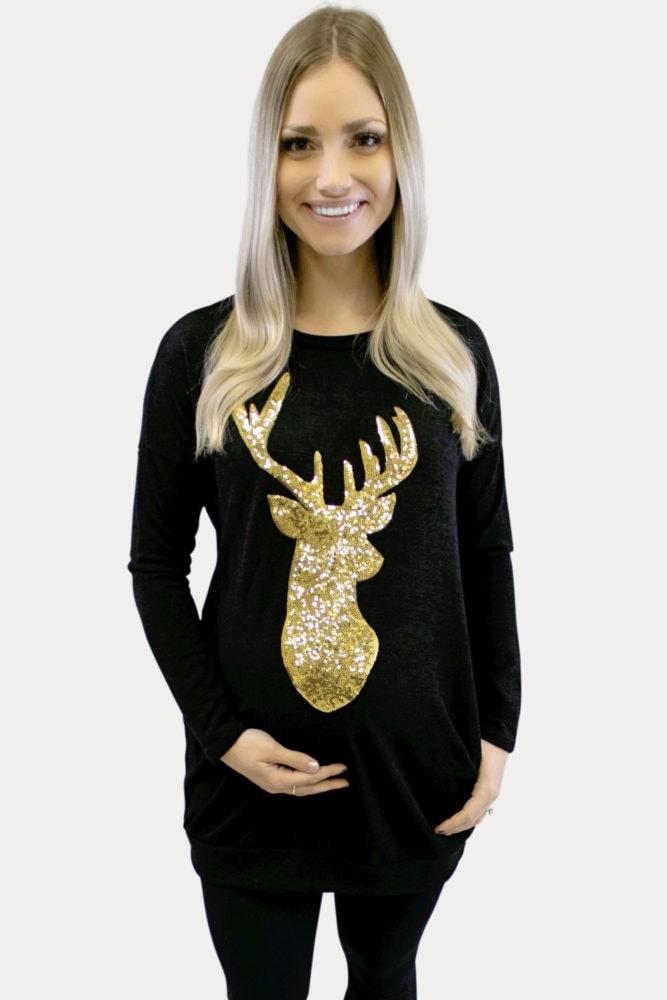 Lightweight Reindeer Maternity Sweater
