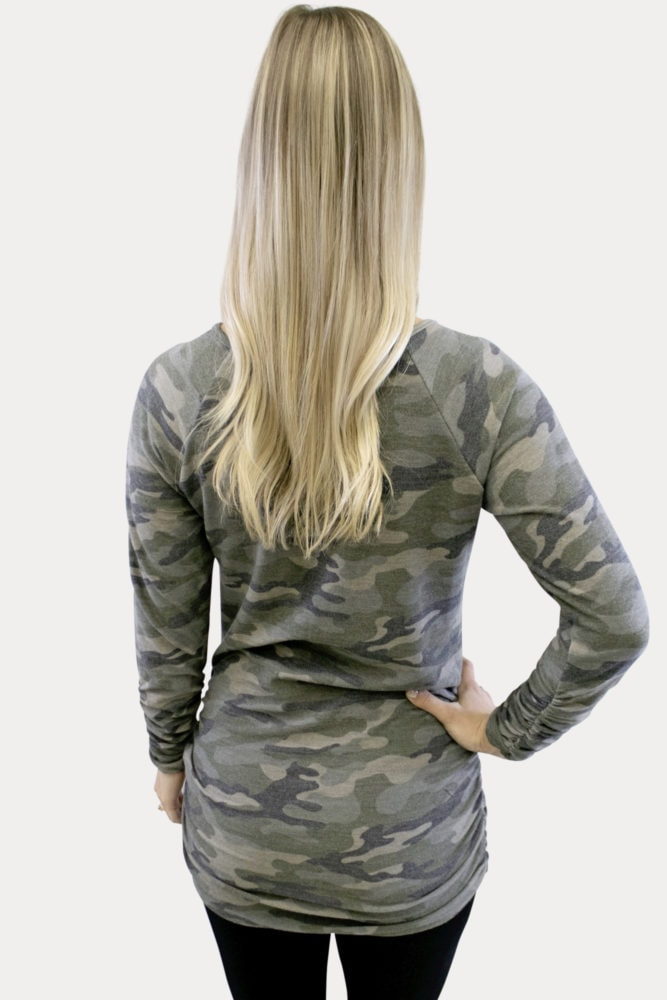 Camo Ruched Maternity Top