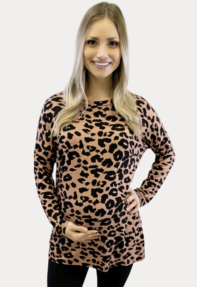 Leopard Print Maternity Top