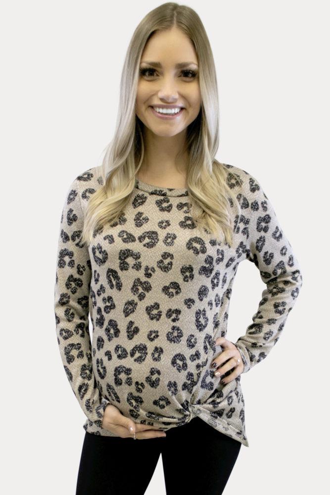 Twist Front Maternity Leopard Top