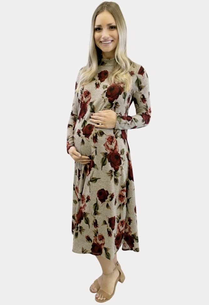 Floral Knit Maternity Dress