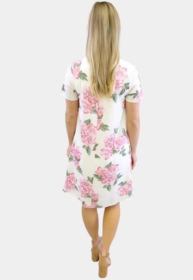 cream floral pregnancy dress