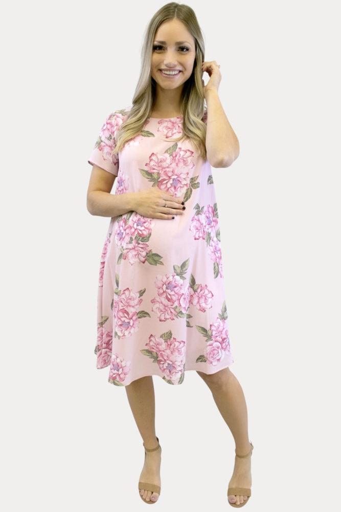 pink floral pregnancy dress