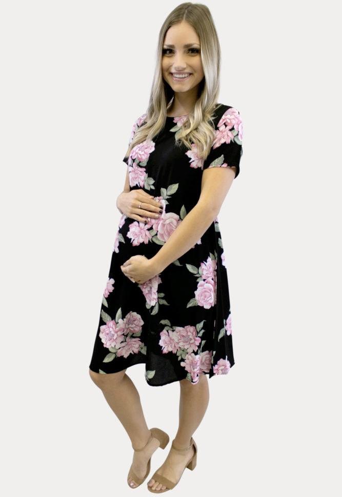 black floral pregnancy dress
