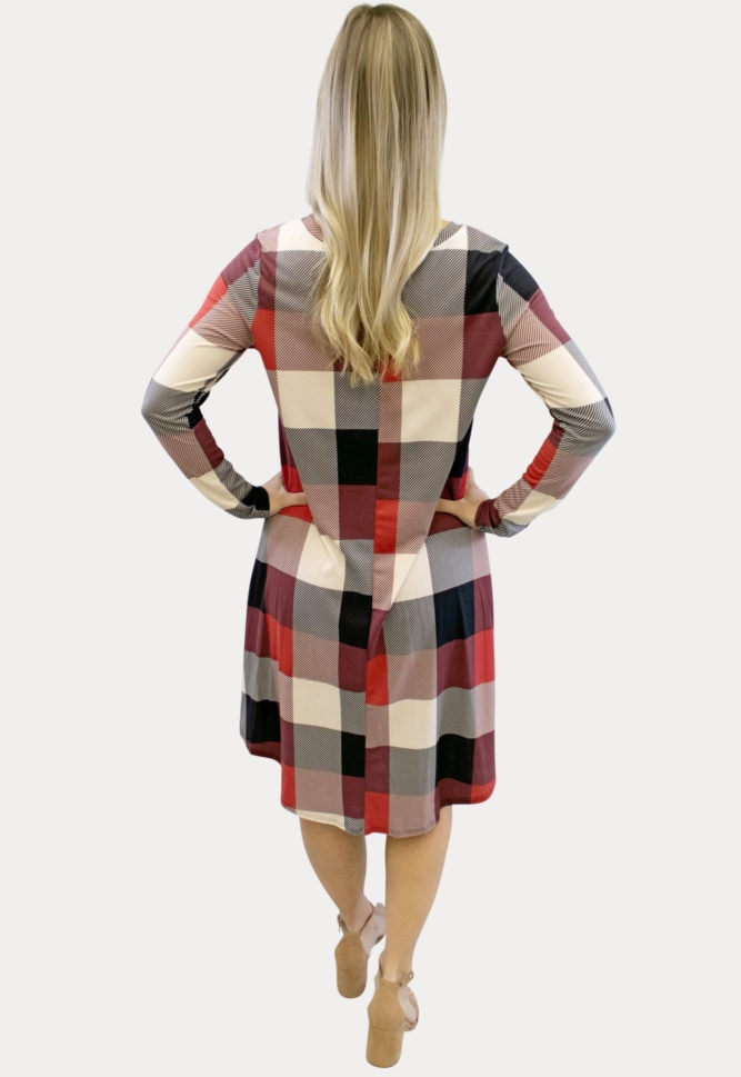 red plaid maternity dress