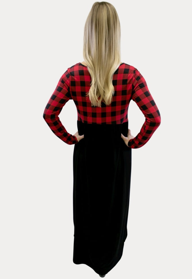 plaid maxi maternity dress