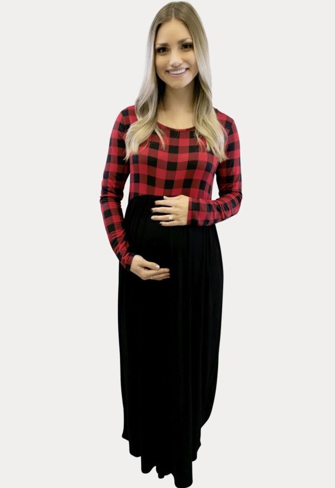 plaid maxi maternity dress