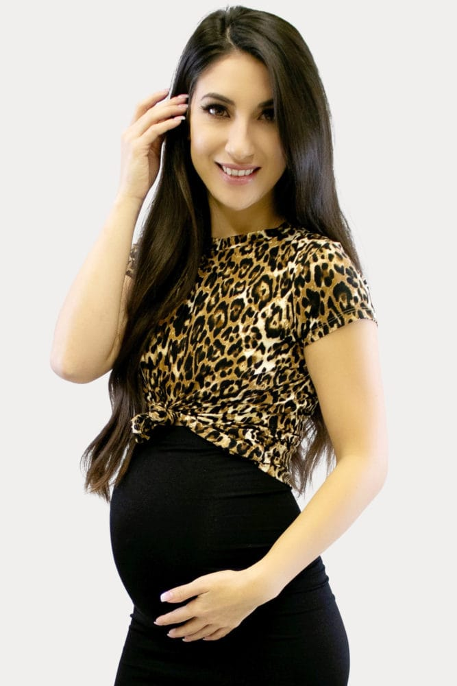 leopard maternity crop top