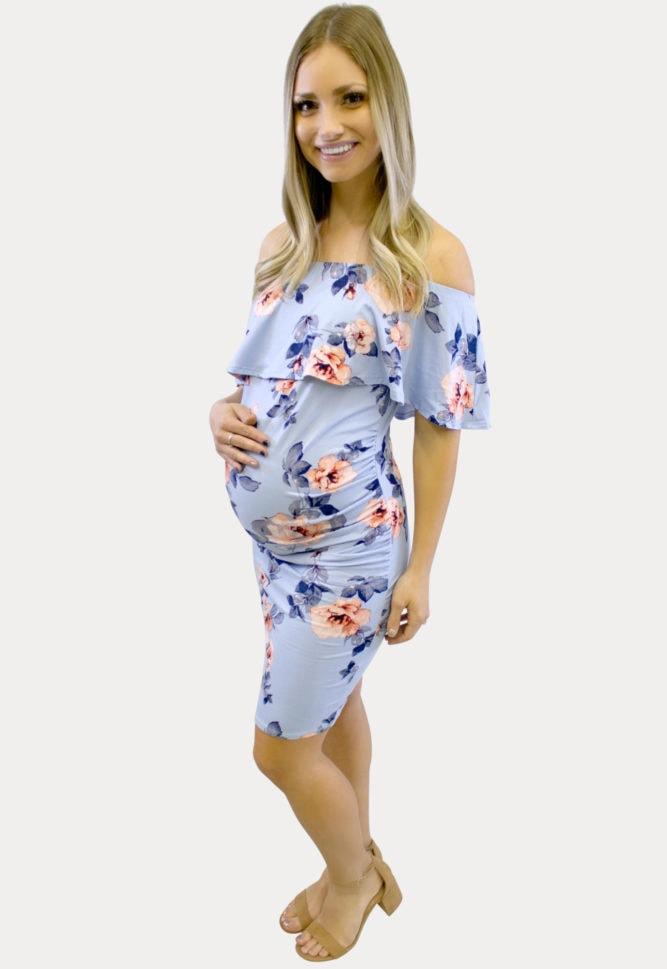 Light blue floral maternity dress