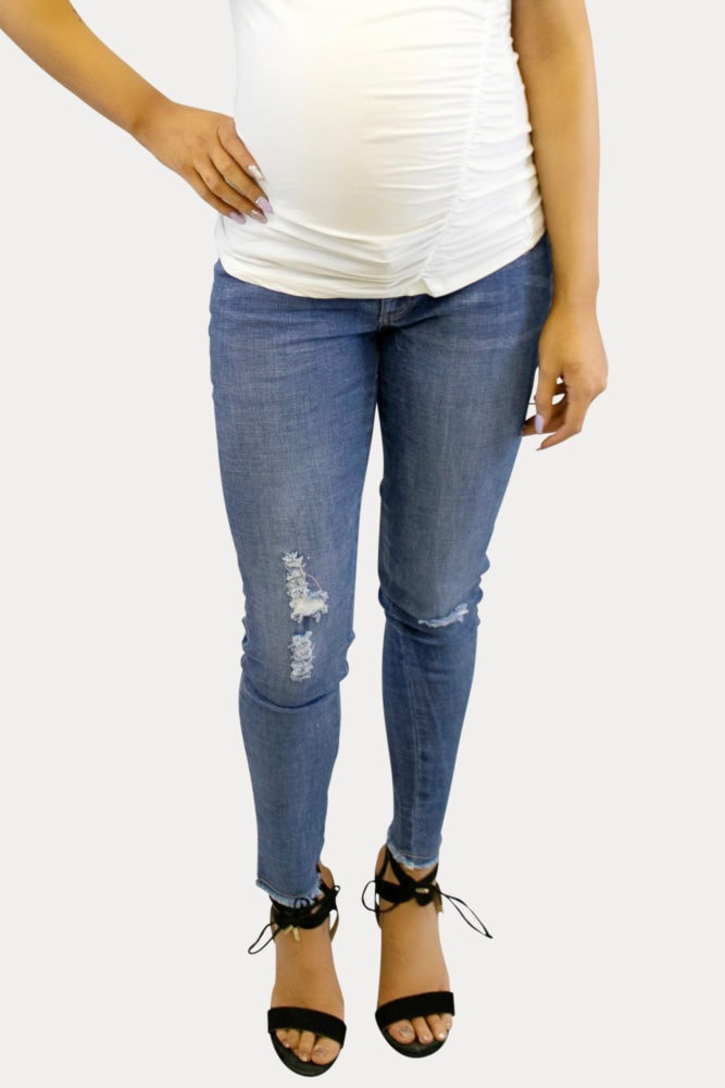 distressed maternity jeans