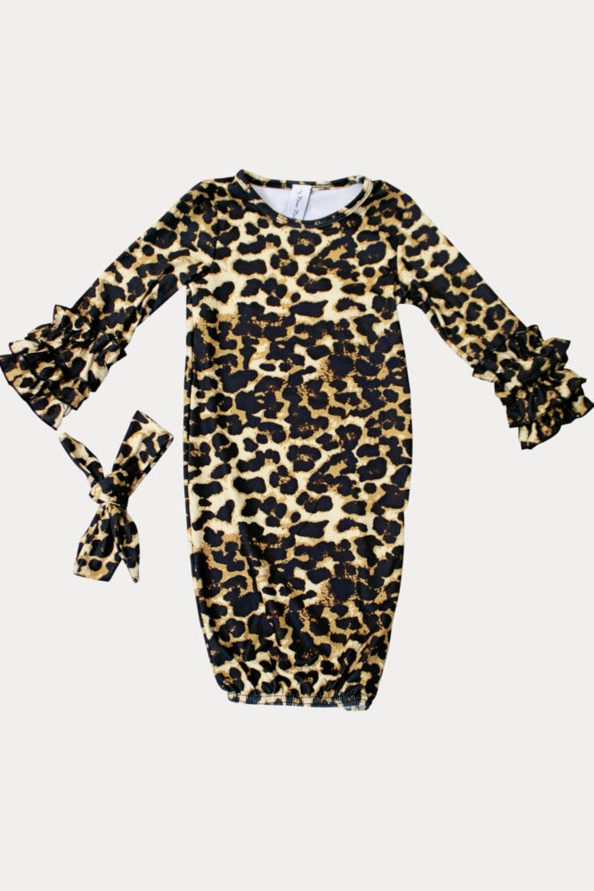 leopard print baby onesie