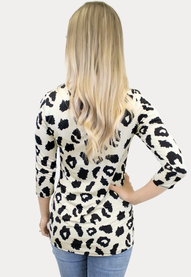 taupe leopard maternity top