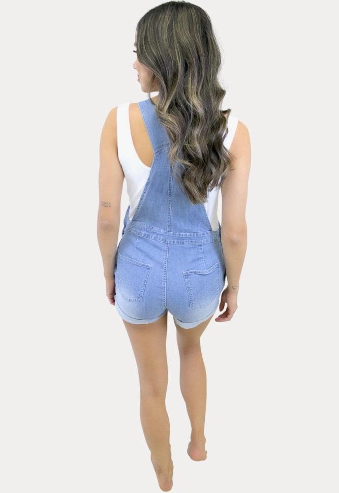 Stretch Denim Maternity Shorts Overalls