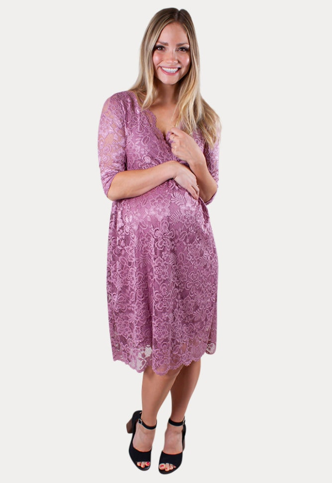 lace flare maternity dress
