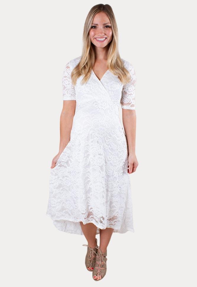 short sleeve lace maternity dress