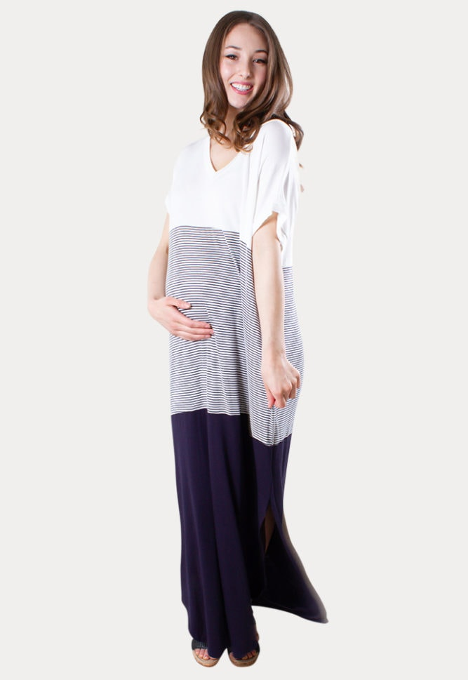 color block maternity dress