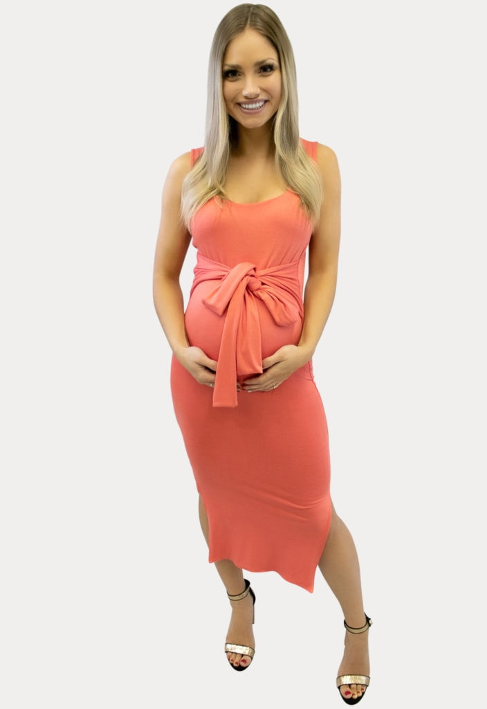bow front maternity dress