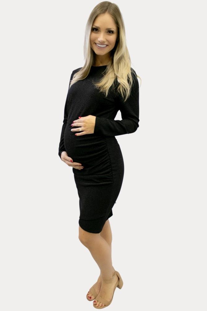 sparkly black maternity dress
