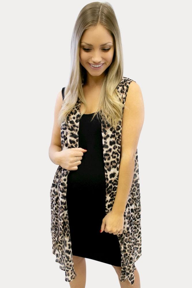 sleeveless leopard maternity kimono