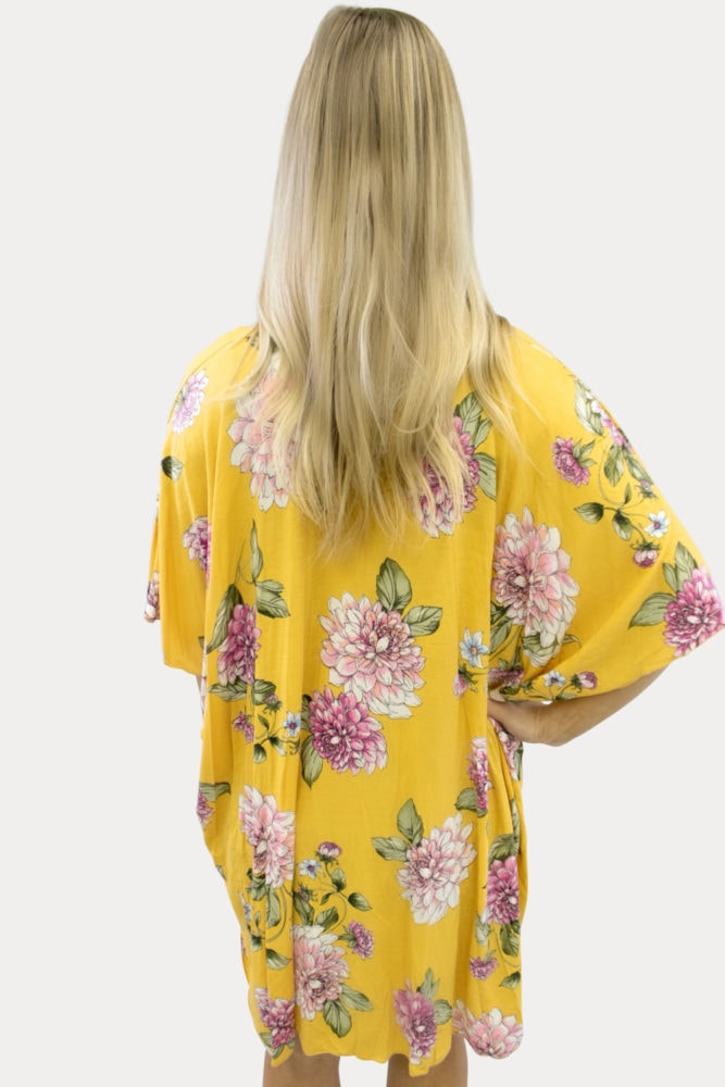 floral mustard maternity kimono