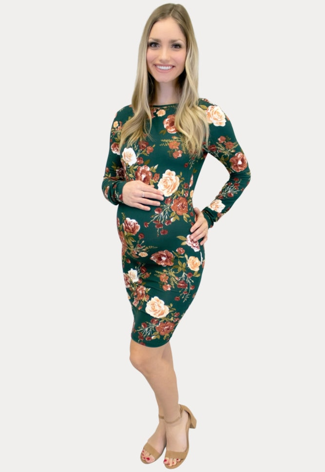 floral scoop back maternity dress