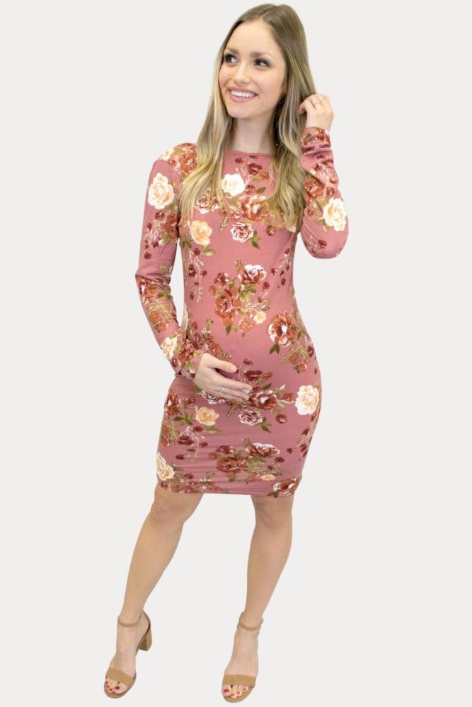 floral mauve maternity dress