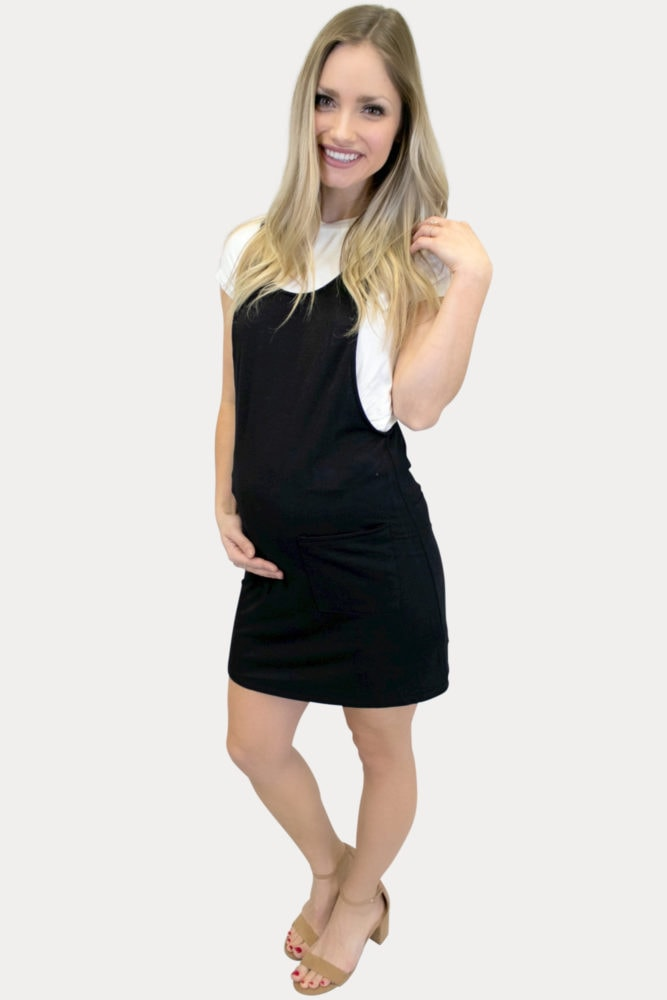 mini maternity overall dress