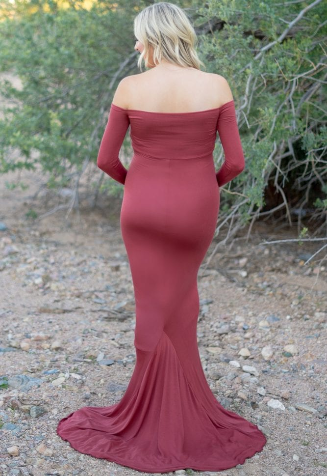maternity gown with long sleeves