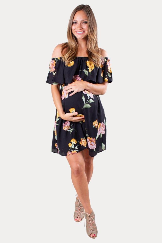 black floral maternity dress